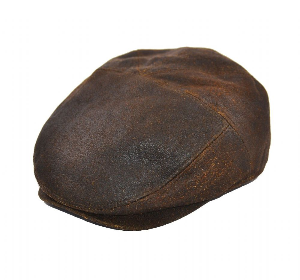 Leather 5 Panel Flat Cap - Brown